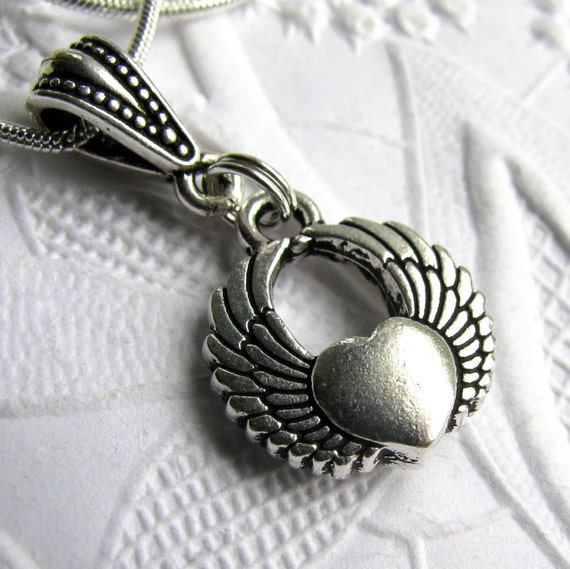 Winged Heart necklace, tattoo style angel wings, TierraCast silver pewter, love necklace, Valentine's Day, love charm,  lead and nickel free