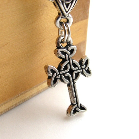 Celtic Cross charm necklace, Tierra Cast antiqued silver pewter, Druid, traditional historical Christian symbol, spirituality