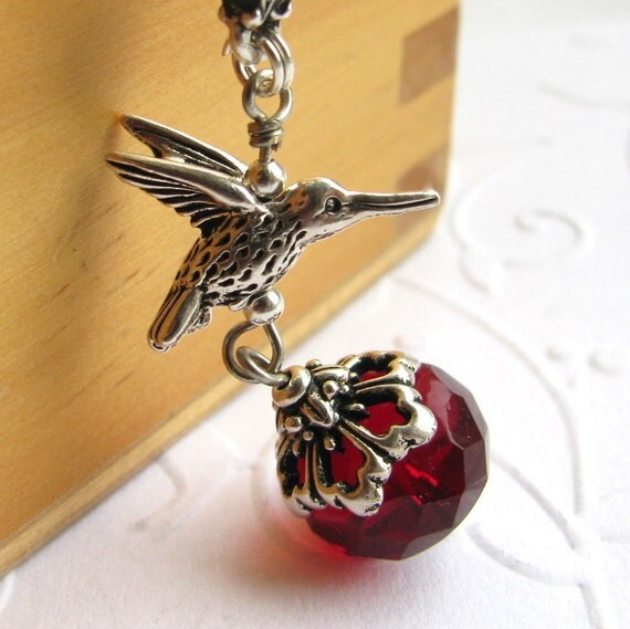 Hummingbird charm necklace with red nectar pendant - silver pewter