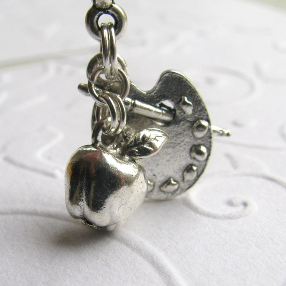 Art Teacher charm necklace, Teacher Appreciation Gift, silver pewter apple and artist palette, painter painting supplies