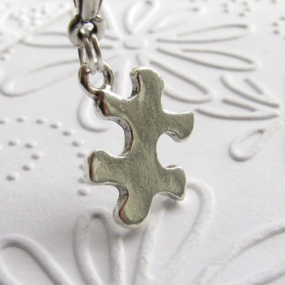 Autism Awareness necklace on a sterling chain, silver pewter puzzle piece, special education teacher gift, special needs, family game night