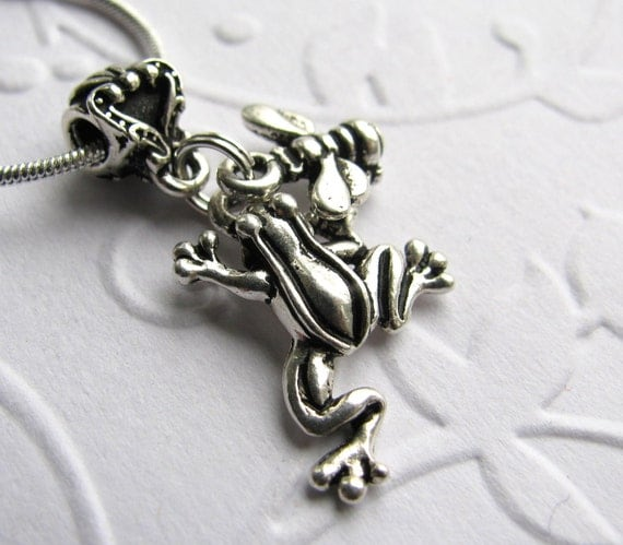 Frog and Bee charm necklace - antiqued silver pewter - Garden Mates