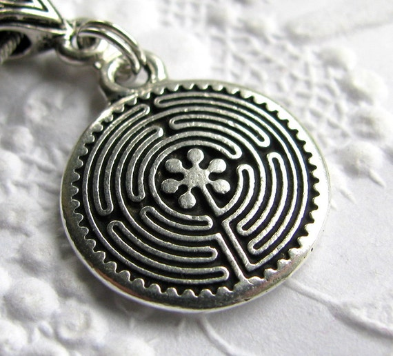 """Labyrinth charm necklace """"Guided Journey"""" travel necklace, TierraCast antiqued silver pewter, spiritualiity, travel symbol, inner wisdom"""