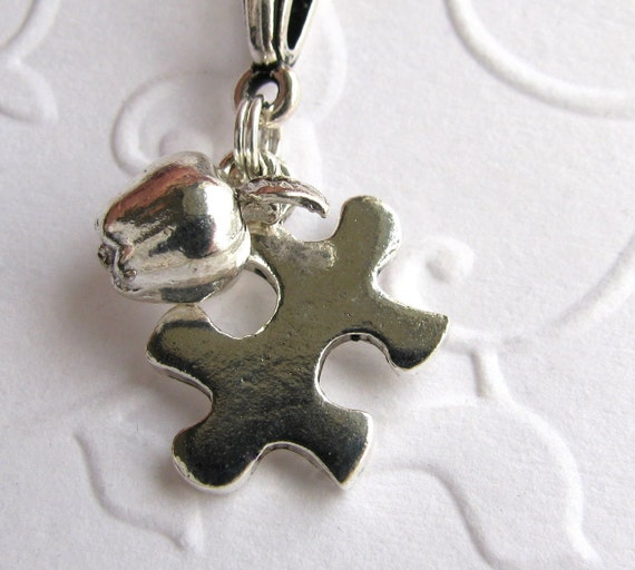 Puzzle piece and apple autism necklace on a sterling chain, autism jewelry, silver pewter charm, special education teacher gift
