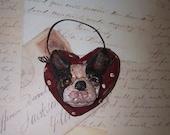 Folk Art Primitive Boston Terrier Dog Doll Heart Ornament Ornie