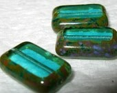Blue Lagoon Dark Aquamarine Czech Glass rectangles Fire Polished Picasso Finish