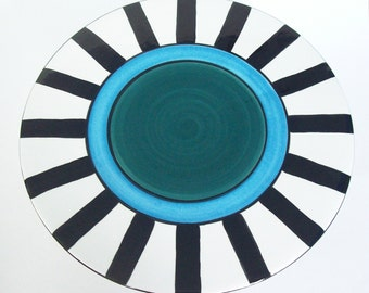 Cake Stand  Teal and Turquoise Stripe