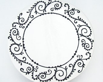 Cake Stand Classic Black on White- Ready to ship