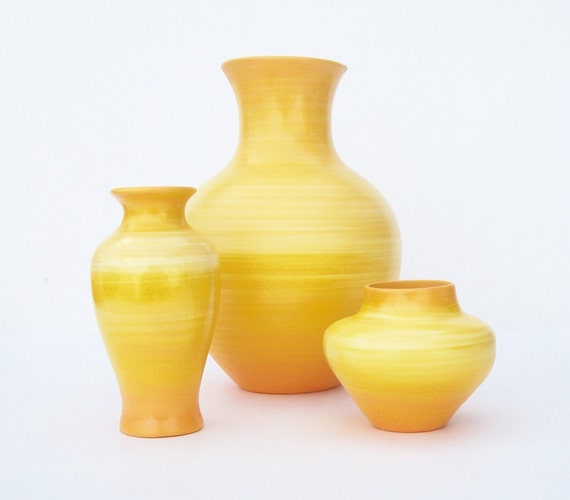 Saffron Yellow Ceramic Vase Set