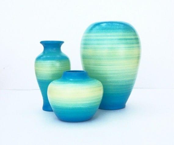 Ocean Fade Ceramic Vase Set
