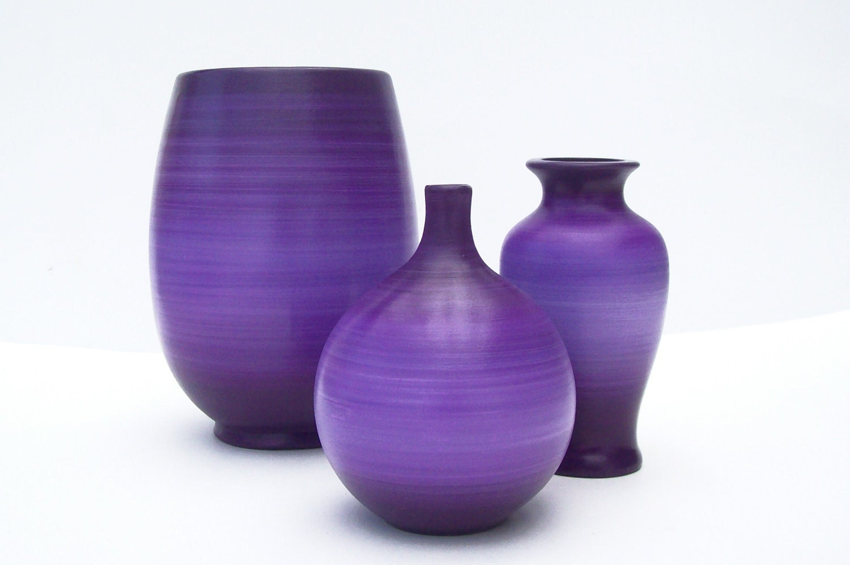 violet purple ceramic vase set. Black Bedroom Furniture Sets. Home Design Ideas