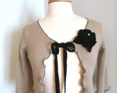 Oatmeal Cashmere Blend Restyle Cropped Cardigan Sweater Size Small with Removable Flower Brooch