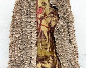 SALE Wool Cape Ruffled with Fur Trim and Antique Tapestry Upcycled Saks Fifth Avenue Fashion by Stacy Leigh RESERVE for Debbie