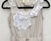 Champagne Dress with Tatting Vintage Lace and Ruching Size Small SALE