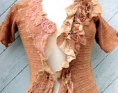Hand Crocheted Tea Stained Blouse with Antique Silk  Lace and Tulle Size Small