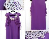 Purple Ruffle Dress with Handmade Tatted Lace Neckline Size Medium