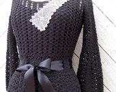 Black Crocheted Dress with Ecru Irish Crocheted Lace Size Small to Medium