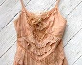 Tea Stained Cotton and Lace Top Size Small to Medium