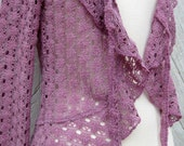 Mauve Pink Lacey Knit Cardigan Sweater with Ruffle Trim Size Small to Medium