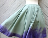 Ombre Dyed Cotton Skirt in Soft Green and Violet Size 12