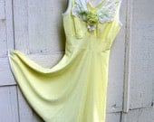 Lemon Chiffon Restyled Vintage Gown Size Small to Medium On SALE