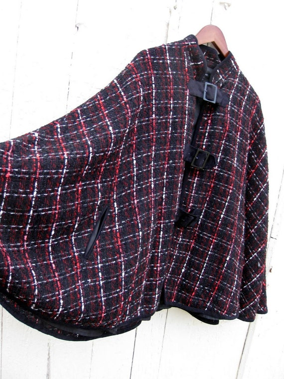 Silk Plaid Black Red and White Woven Cape Size S/M RESERVED for Olivia