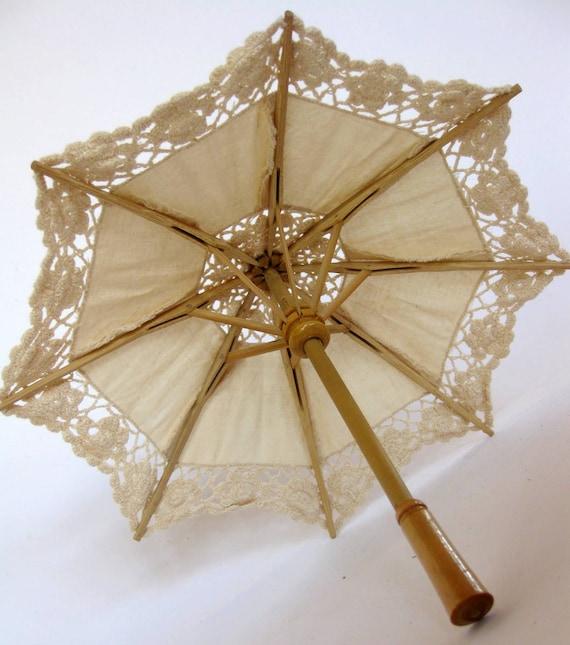 Miniature Ivory Cotton and Cream Lace Parasol Umbrella