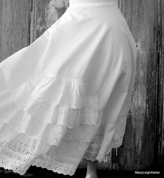 White Cotton Eyelet Bustle Petticoat Skirt By