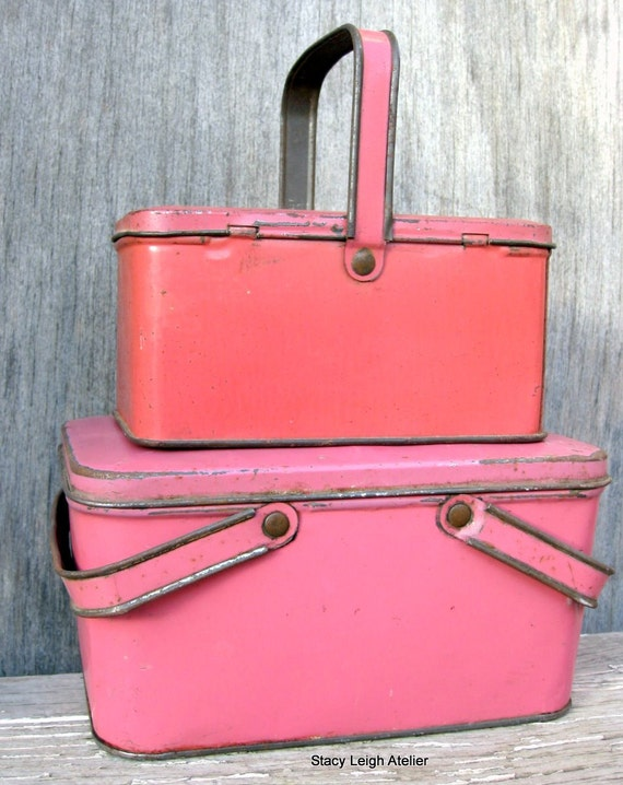 Coral Pink Tin Primitive Lunch Box RESERVED for Jamie