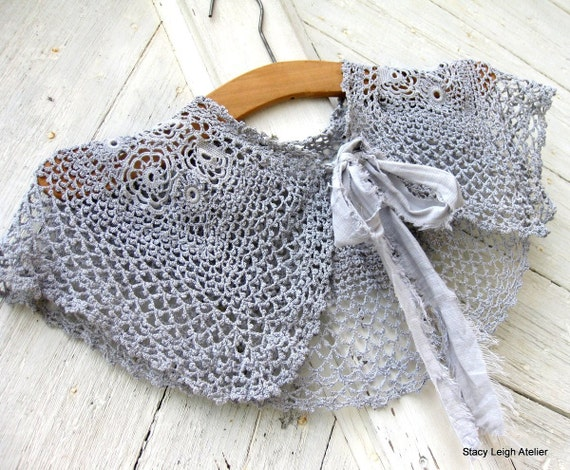 Gray Irish Crochet Capelet or Large Lace Collar with Deconstructed Fabric Tie RESERVED for Brittany