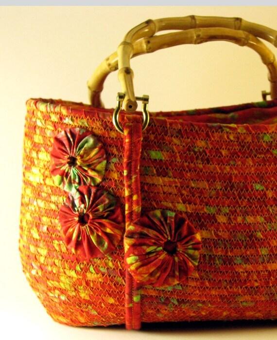Tropical Red Batik Wrapped Purse SALE SALE SALE