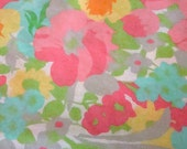 Vintage Twin Floral Flat Sheet in Flower Power Pink / Reclaimed Bed Linens