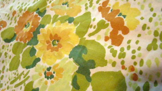 SALE was 8.00 now 5.00 Vintage Beautiful Green and Yellow Floral Fabric / Reclaimed Bed Linens