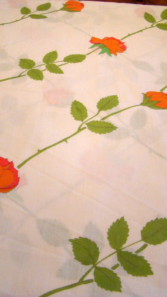 SALE was 13.00 now 8.00 Vintage Full Floral Flat Sheet with Orange Flowers / Reclaimed Bed Linens