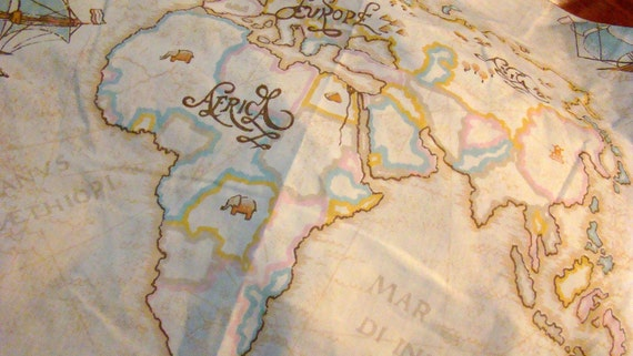 Vintage Bill Blass Full Fitted Map of the World Sheet / Reclaimed Bed Linens