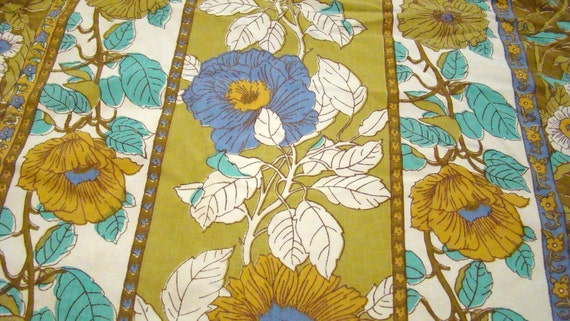 Vintage Twin Floral Fitted Green and Blue Sheet Flower Power  / Reclaimed Bed Linens