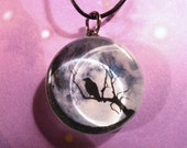 Raven /Crow, Full Moon, MUST SEE BACK - Glass Pendant Necklace
