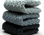 Cloudy Skies Dishcloths, Crochet Cotton Wash Coths, Gray Face Scrubbies