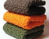 Crochet Cotton Wash Cloths, Crocheted Cotton Dish Cloths, Knit Face Cloth, Autumn Colors