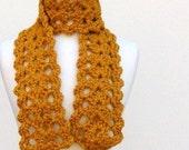 Crochet Lace Scarf..Chunky Acrylic Scarf..Bulky Butterscotch Brown