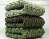 Green Shades Dish Cloths, Crochet Cotton Wash Cloths