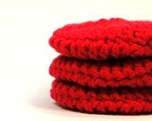 Crochet Facial Pads, Red Cotton Scrubbies, Reusable Make Up Removers