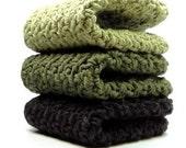 Woodsy Crochet Cotton Washcloths Crocheted Dishcloths