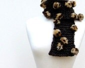 Baubles Hand Knit Scarf, Brown Woman's Scarf, Animal Print