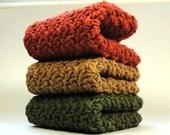 Perfect Autumn Crocheted Cotton Dishcloths or Washcloths
