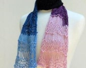 Knitted Lightweight Scarf Summer Yarn Necklace Organic Cotton Bamboo Ascot