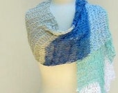 Blue Green Shawl, Knitted Lightweight Wrap, Large Summer Scarf
