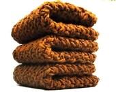 Premium Cotton Dish Cloths, Crochet Wash Cloths, Cinnamon Face Cloths
