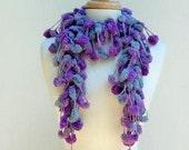 Mauve Pompom Scarf, Crochet Fluffy Scarf, Grape Gray Scarf