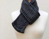 Gray Knit Wool Scarf Mans Neckwarmer Women's Classic Scarf